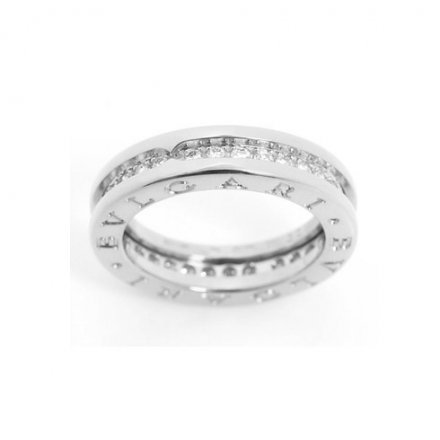 Bvlgari B.ZERO1 18k white gold 1-band ring paved with diamonds