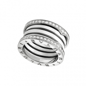 Bulgari B.ZERO1 ring white gold 4 band with pave diamonds