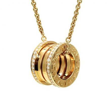Bvlgari B.ZERO1 yellow gold necklace with paved diamond pendant