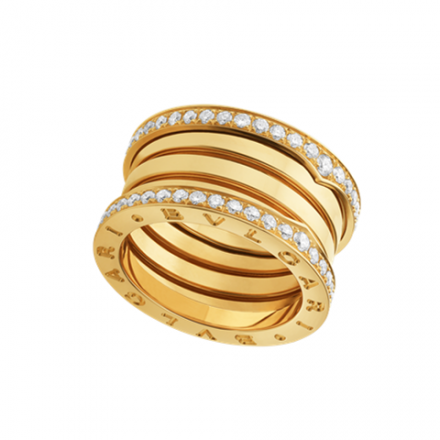 fake Bulgari B.ZERO1 ring yellow gold 4 band paved with diamonds AN857024