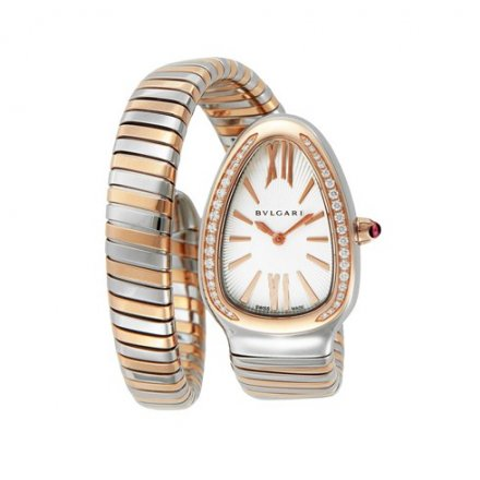 Two-tone Bvlgari Serpenti Tubogas 35mm diamond watch SP35C6SPGD.1T