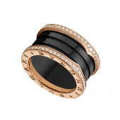 Bulgari B.ZERO1 ring pink gold 4 band black cerami with pave diamonds