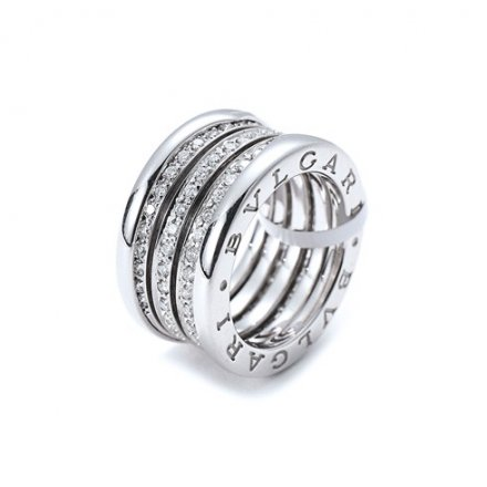 Bvlgari B.ZERO1 18K white gold 4-band ring paved with diamonds