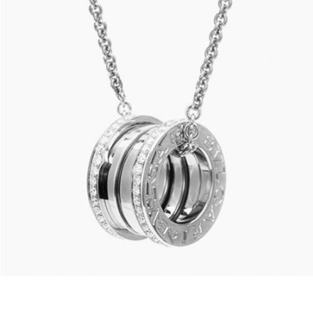 Bvlgari B.ZERO1 necklace white gold paved diamond pendant