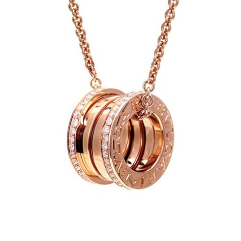 Bvlgari B.ZERO1 necklace pink gold pendant with paved diamonds