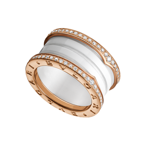 Bulgari B.ZERO1 ring pink gold 4 band white cerami with pave diamonds